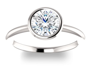 14K White Gold<br>Solitaire Bezel Engagement Ring<br>with 1.00ct Round Forever One
