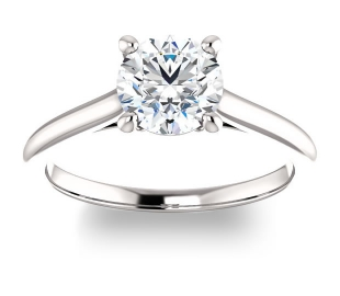 14K White Gold<br>Infinity Solitaire Engagement Ring<br>with 1.00ct Round Forever One