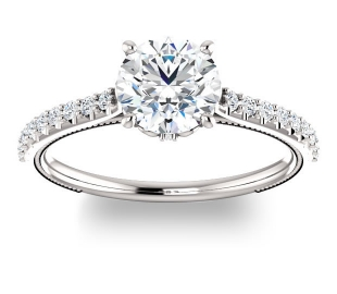 14K White Gold<br>Brilliant Round Accented Engagement Ring<br>with 1.00ct Round Forever One