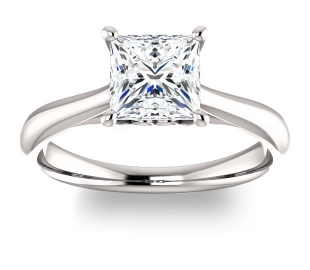 14K White Gold<br>Solitaire Engagement Ring<br>with 1.30ct Princess NEO E-F