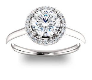 14K White Gold<br>Halo Engagement Ring with Gem Accents<br>with 1.00ct Round Forever One