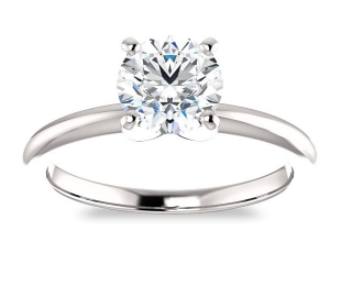 14K White Gold<br>Solitaire Engagement Ring<br>with 1.00ct Round Forever One
