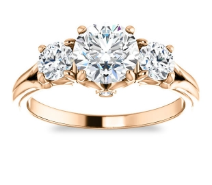 14K Rose Gold<br>Accented Three Stone Engagement Ring<br>with 1.00ct Round Forever One Near Colorless